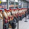 Emirates cabin crew waiting to board the plane in New York.  Photo by: Stephen Hindley©