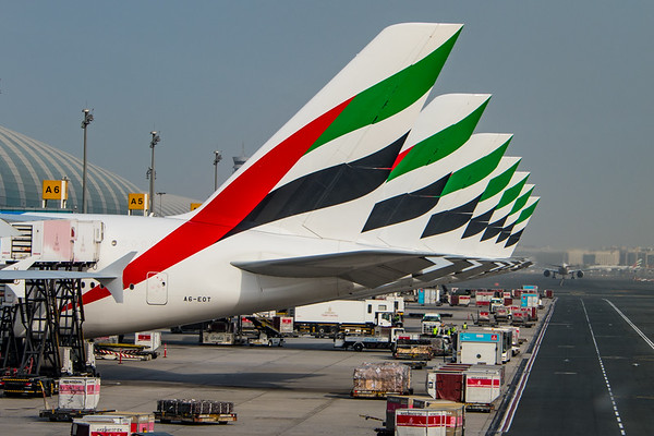 Emirates A380's on the gate in Dubai before the morning rush.  Photo by: Stephen Hindley/HIVE Photography©