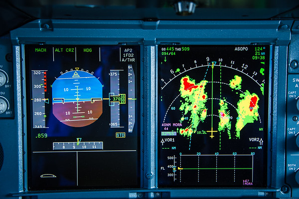 Deviating around weather in the A380-800.  Photo by: Stephen Hindley©