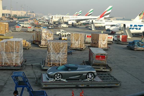 Koenigsegg CCR in Dubai - World's most powerful production car, waiting to get loaded onto our aircraft.  Photo by Stephen Hindley