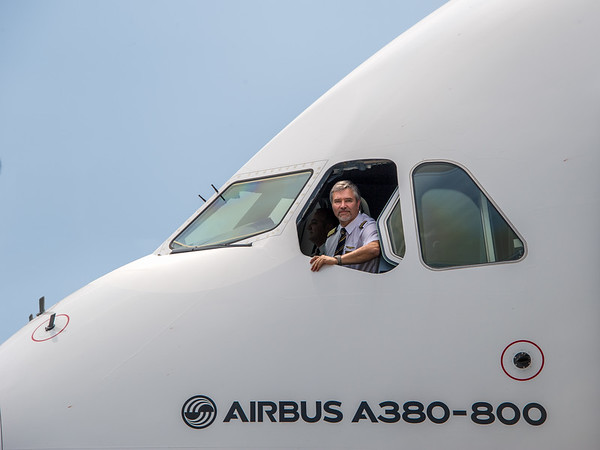 Arriving in Amsterdam with Emirates' 50th A380-800 (A6-EEX) on its first commercial flight. 11th July, 2014.