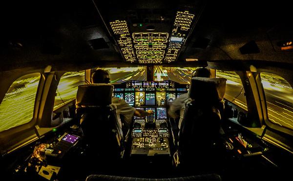 Landing the Airbus A380-800 in Dubai.  EK46 Frankfurt to Dubai, 9th June, 2016.  Photoby: Stephen Hindley