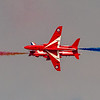 The Royal Air Force Aerobatic Team, The Red Arrows, flying the BAE Hawk T1, perform at the Dubai Airshow, held at Dubai Worls Central, 20th November, 2013.  Photo by: Stephen Hindley ©