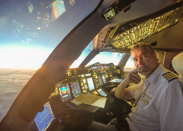 A dawn 'selfie' in the Airbus A380-800.  Photo by: Stephen Hindley©