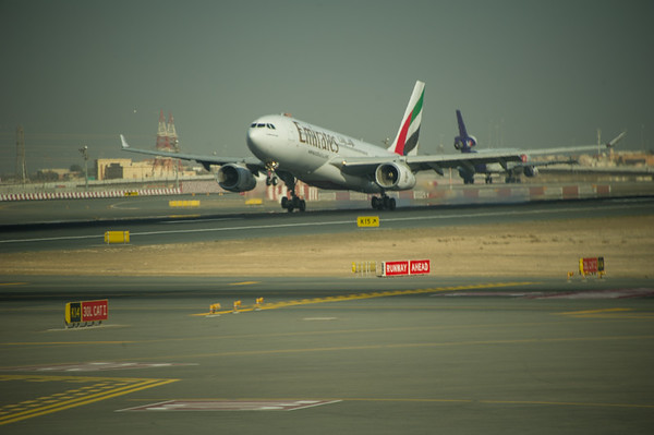 Emirates A30-200 arriving in Dubai, UAE.  Photo by: Stephen Hindley©