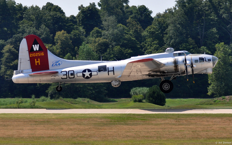 B-17 Aluminum Overcast lifts off from runway 26L at Spirit of St. Louis aiport