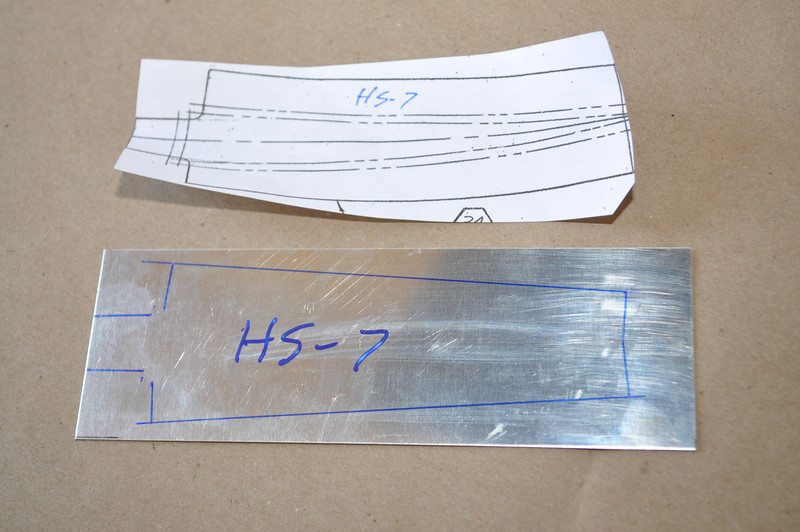 I have transferred the rib pattern from the drawing onto the aluminum stock