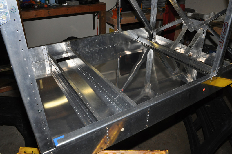 Floor riveted into the Bede BD-4C fuselage