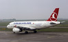 Turkish Airlines Airbus A319 TC-JLS, Nikola Tesla airport, Belgrade, Tues 17 June 2014.