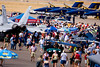Airshow crowd and display aircraft.