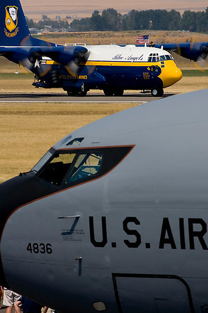 Blue Angels' C-130 taxis in.  An Air Force KC-135 is in the foreground.