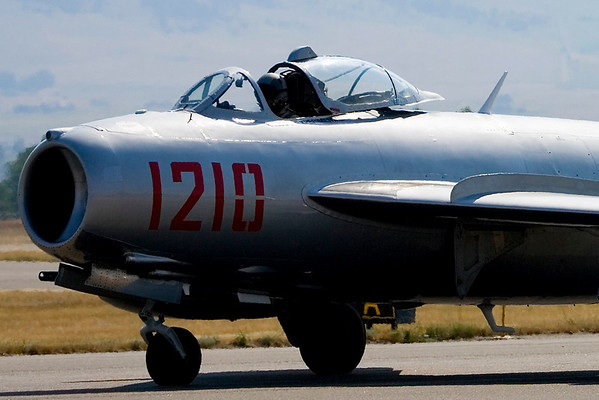 A MiG-17 taxis out for take-off.