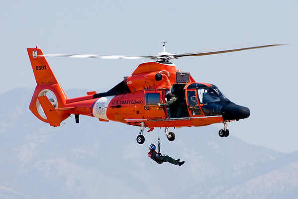 Miles inland from any major bodies of water, the Coast Guard lived up to its Semper Paratus motto by demonstrating a hoist rescue with their HH-65 Dauphin.