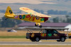 Kent Pietsch, now sponsored by Jelly Belly Jelly Beans, performed with his beautiful Interstate Cadet.  What I consider his trademark, and probably best known act, is landing his Cadet on a pick-up truck.  .