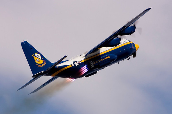 The U.S. Navy's Blue Angels C-130 opens their show.<br /> Sunday's spectators were treated to what is becoming a rare performance—a JATO take-off by the Blue Angels' <br /> C-130, Fat Albert.