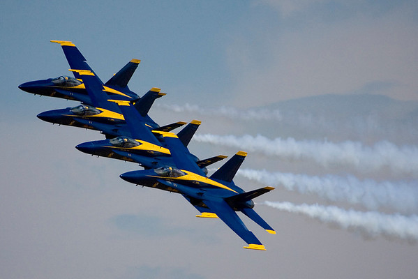 Blue Angels make their signature four-ship pass.