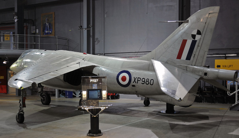 Hawker P1127 XP980, Fleet Air Arm Museum, Yeovilton, Wed 26 January 2011.  One of several vertical take off / landing development aircraft for what became the  Harrier.  First flew in 1963.