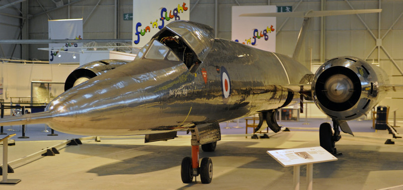 Bristol 188 XF926, Royal Air Force Museum, Cosford, Fri 14 December 2012.  First flew in 1963, one of two research aircraft built of stainless steel.