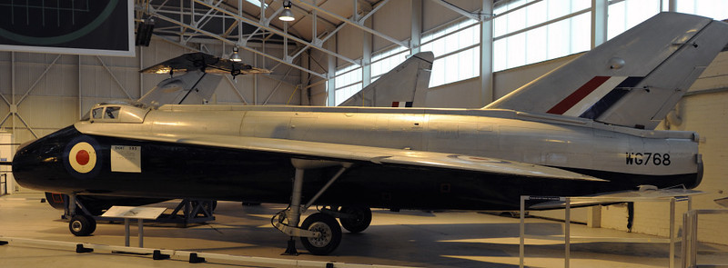 Short SB5 WG768, Royal Air Force Museum, Cosford, Fri 14 December 2012.  Research aircraft built ito compare alternative wing and tail designs with that proposed by English Electric for their P1.  The SB5 first flew in 1952 with the high tail visible at left behind the cockpit.  The tail at centre belongs to the P1.