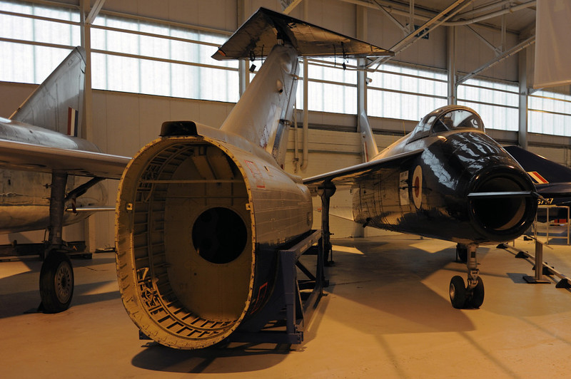 English Electric P1 WG760 & Short SB5 WG768, Royal Air Force Museum, Cosford, Fri 14 December 2012.  The supersonic prototypes, with the high tail first fitted to the SB5 at centre.