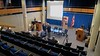 Tech setup continues in the Guy Simonds Auditorium at the Canadian Forces College in Toronto.