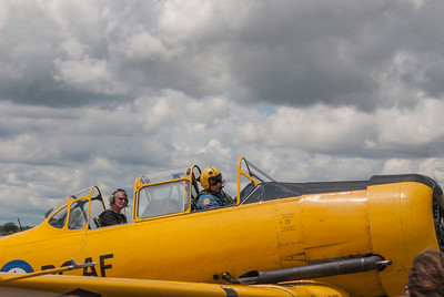 Bill Shepard and passenger return from a flyover on Canada Day