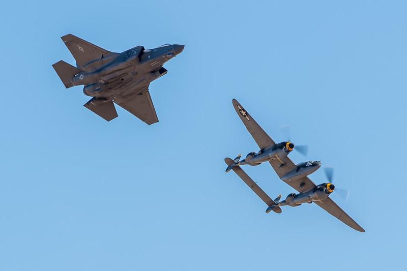 F-35A and P-38 Lightning Hertiage Flight