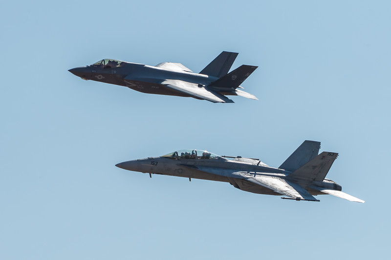 US Navy F-35C and F/A-18F
