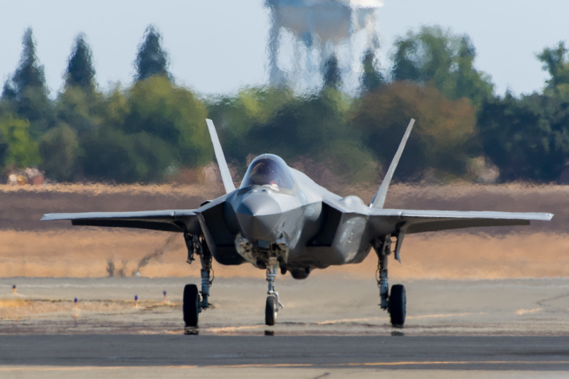 US Air Force F-35A taxis in