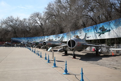 Shenyang J-6 Fighter (Chinese built version of Mig-19 'Farmer'), 9214, heads a line of Mig-19  variants, China Aviation Museum, Datangshan - 26/03/17.