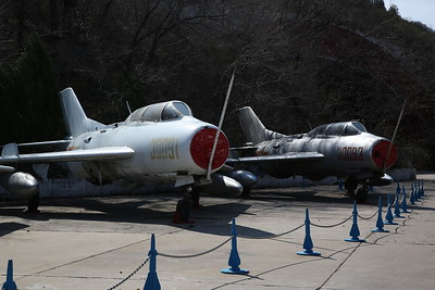 Shenyang JJ-6, supersonic 2-seat trainers (based on Mig-19 'Farmer'), 30091 & 30093, China Aviation Museum, Datangshan - 26/03/17.