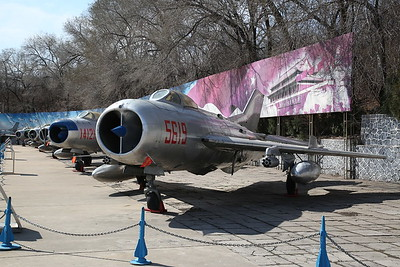 Shenyang J-6 / DF-102 Fighter (Chinese built version of Mig-19 'Farmer'), 5619, heads a line of Mig-19  variants, China Aviation Museum, Datangshan - 26/03/17.