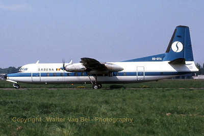 This Fairchild Hiller FH-227B (OO-DTA, cn 551) of Sabena was seen on the taxitrack at Antwerp. Scan from old slide.