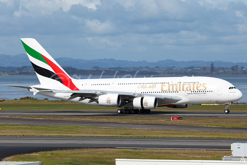 EK412, A6-EDM landing on RWY 23L, Auckland, NZAA, New Zealand.