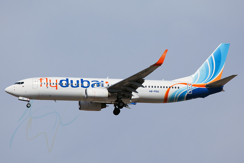 FDB836 (A6-FDU) is seen here arriving from JED.