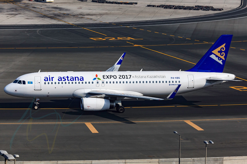 DUBAI - DECEMBER 5: An Air Astana A320 with new sharklet and EXPO 2017 label is taxing to the gate as seen on December 5, 2015. Dubai airport's traffic is very heavy in the mornings.