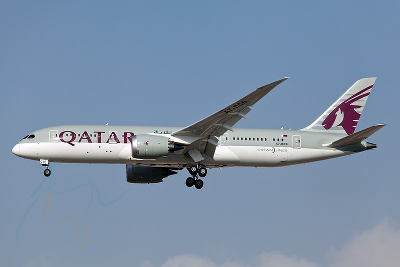 Inaugural (to be exact the second approach to OMDB) flight of QR B787 to OMDB as QR116. A7-BCB.