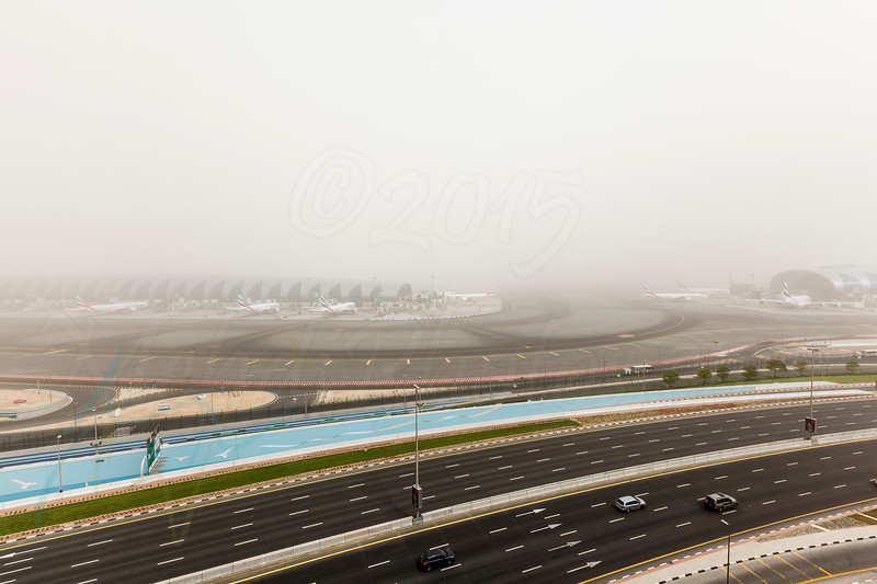 Rush hour during a heavy sand storm that hit Dubai for two consecutive days.