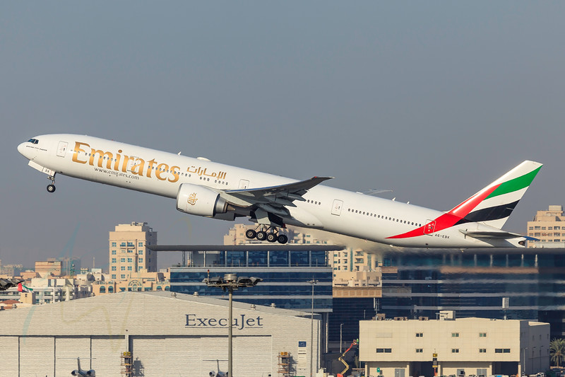 DUBAI - DECEMBER 5: An Emirates B777 plane is taking off from Dubai airport as seen on December 5, 2015.