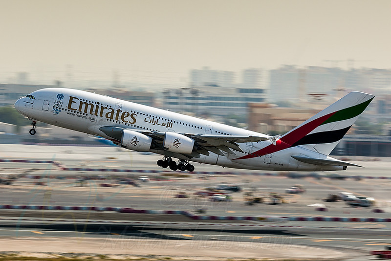 Hand held panning shot at 1/60 of EK A380