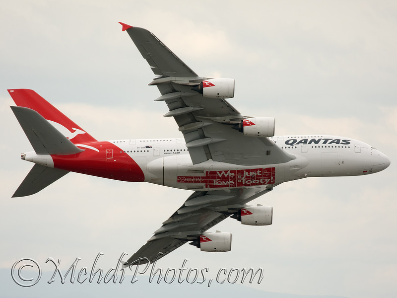 """Performing a display over the Melbourne Cricket Ground during the Australian Football League. AFL, Grand Final and also the first QF A380 wearing <b>We Just Love Footy!</b> as a promotion for the new sports TV station 7mate. Taken from  <a href=""""http://www.eurekaskydeck.com.au/"""" rel=""""nofollow"""">Eureka Tower</a>."""