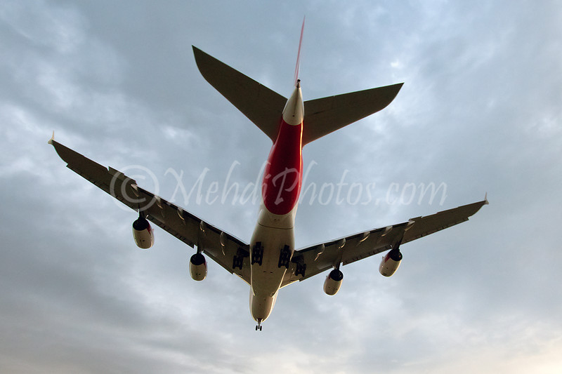 VH-OQC, Qantas Airbus A380, is seen here arriving from Los Angeles, operating as QF93 on RWY16, Melbourne.