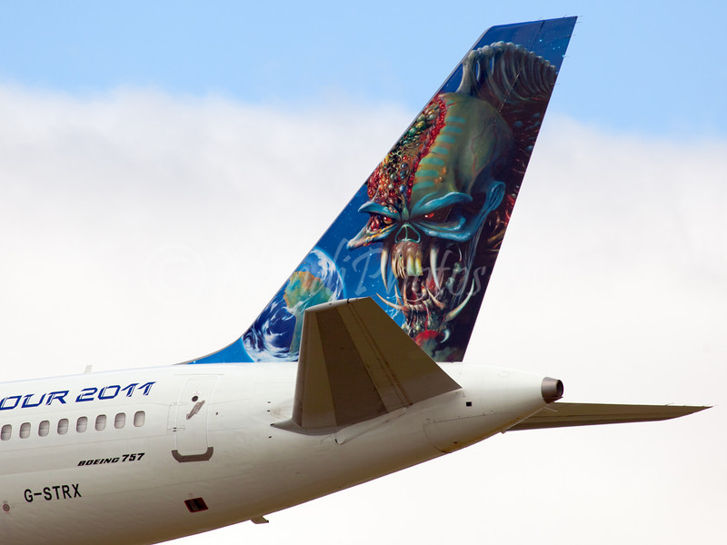 Iron Maiden plane is seen here on their 2011 and last world tour (G-STRX) arriving on RWY16 from SYD.
