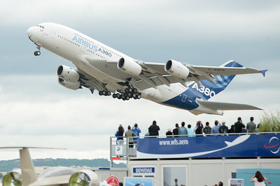 A380 takeoff, Salon du Bourget (Paris Airshow)