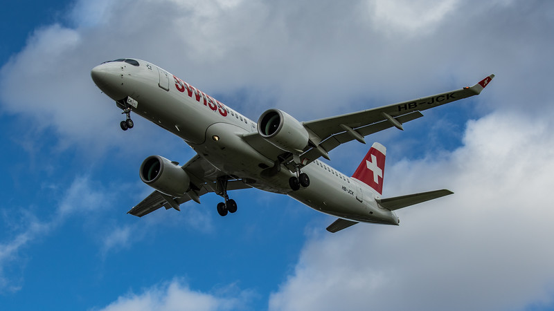 Swiss - Airbus A220-300 (HB-JCK) - Heathrow Airport (March 2020)