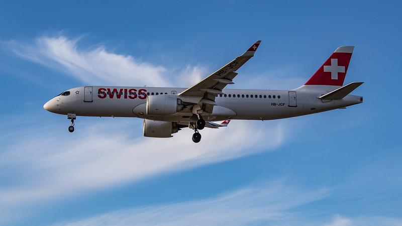 Swiss - Airbus A220-300 (HB-JCF) - Heathrow Airport (August 2020)