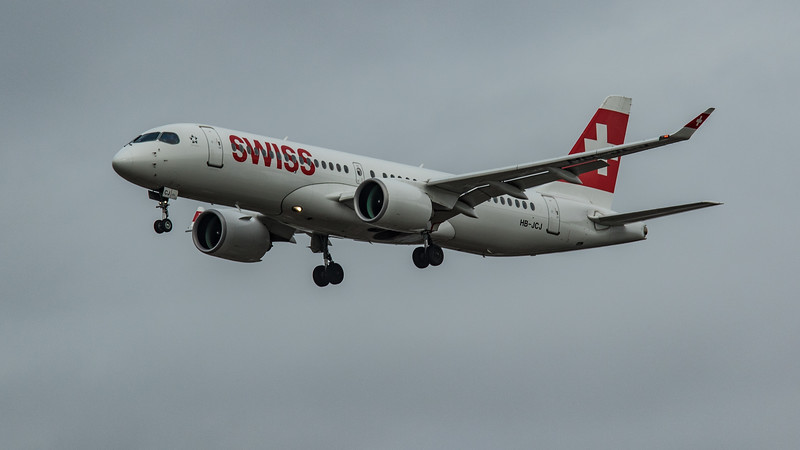 Swiss - Airbus A220-300 (HB-JCJ) - Heathrow Airport (March 2020)