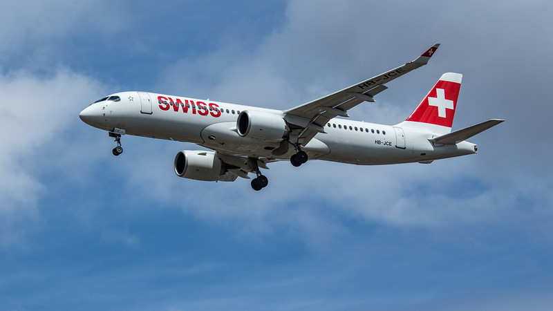 Swiss - Airbus A220-300 (HB-JCE) - Heathrow Airport (June 2020)