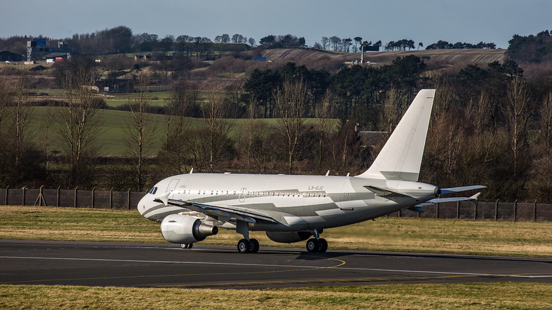 Global Jet Luxemburg - Airbus A318-112(CJ) Elite (LX-GJC) - Edinburgh Airport (February 2020)