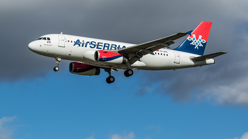 AirSERBIA - Airbus A319-132 (YU-APA) - Heathrow Airport (March 2020)